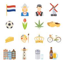 Netherlands Flat Icons Set