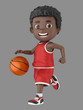 3d illustration of a cute african american kid dribbling a basketball in uniform