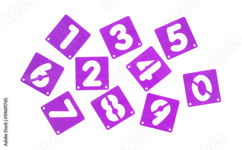 Poster Board Stencil Templates Numbers Isolated On A White