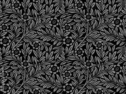 Fototapety, obrazy: Elegant antique silver and black background 407_vintage flower leaf plant
