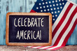 text celebrate America and American flag