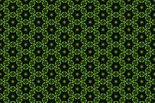Green Kaleidoscope Hexagon Eyes Ornament Pattern.