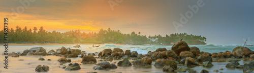 Fotografie, Obraz Romantic untouched tropical beach on sunset, Sri Lanka