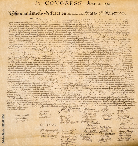 Carta da parati Declaration of independence 4th july 1776 close up