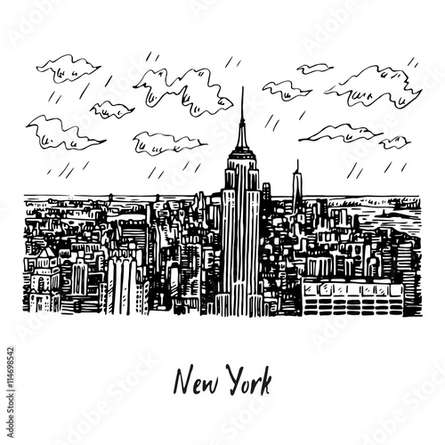Keuken foto achterwand Art Studio New York City Manhattan skyline view, USA. Sketch by hand. Vector illustration. Engraving style
