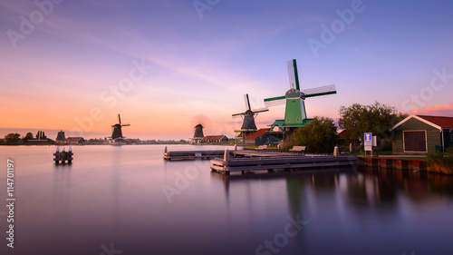 Fotografering  Twilight at Zaanse Schans, windmills village, near Amsterdam