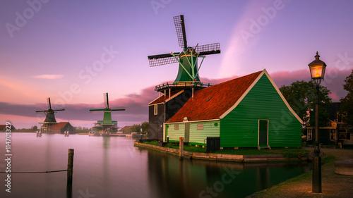 Canvas Prints Amsterdam Twilight at Zaanse Schans, windmills village, near Amsterdam