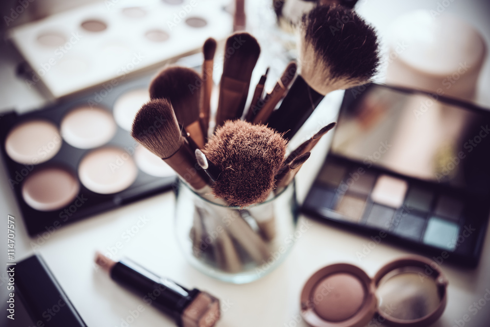Fototapeta Professional makeup brushes and tools, make-up products set