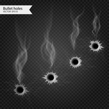 Bullet Holes With Smoke. Vector Isolated. Really Transparent Effect