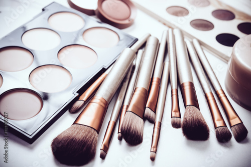 Obraz na płótnie Professional makeup brushes and tools, make-up products set