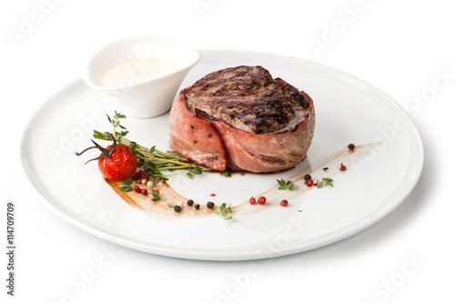 Grilled beef steak Canvas Print