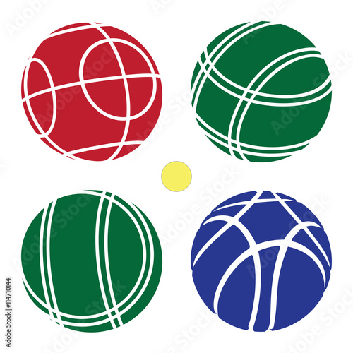 Deurstickers Bol Bocce Ball color Set Icon - Petanque Vector