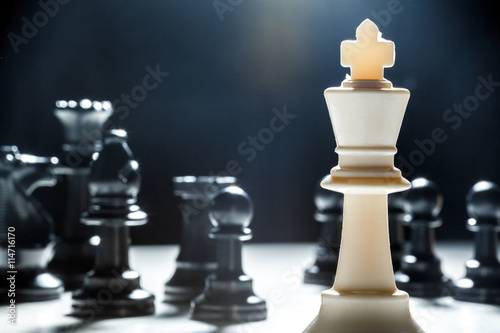 chess pieces on a black background Canvas Print
