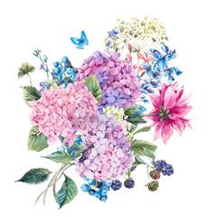 Panel Szklany Botaniczne Floral Greeting Card with Hydrangea