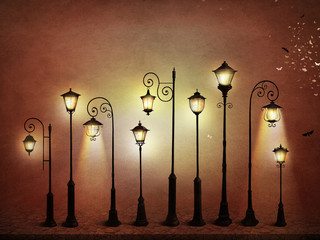Fantasy illustration or poster, or background for  card with  street lamp