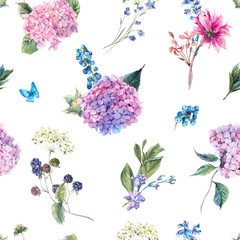 FototapetaFloral seamless pattern with Hydrangea