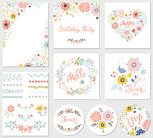 Birthday Floral Card Set With ...