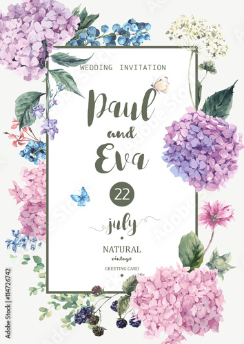 Tablou Canvas Vector wedding invitation with Hydrangea