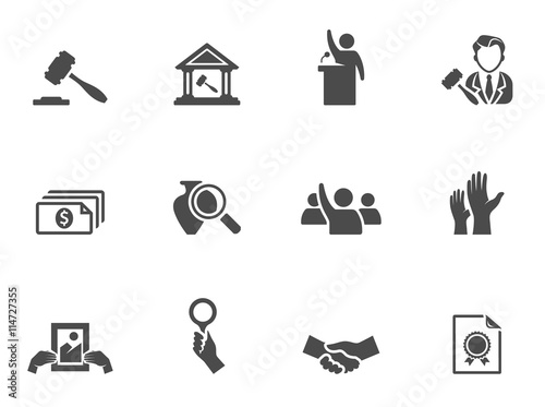 Auction icons in black & white. Wallpaper Mural