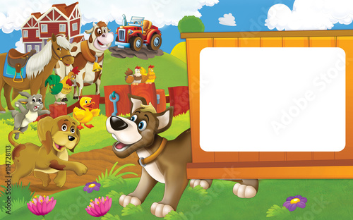 Poster Ranch Cartoon farm scene with different animals - dogs rabbit duck cow and hen - illustration for children