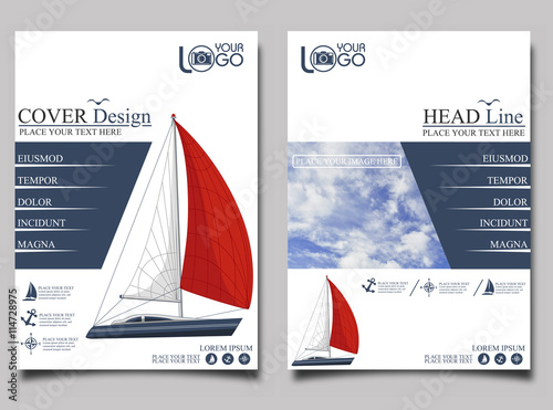Fotomural Yacht club. Flyer design template vector.