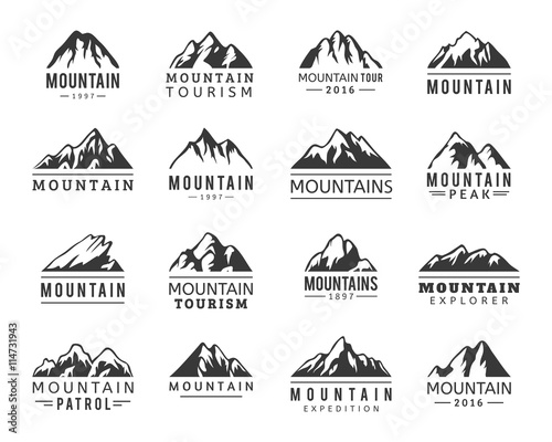 Mountain vector icons set. Set of mountain silhouette elements. Outdoor icon snow ice mountain tops, decorative symbols isolated. Camping mountain logo, travel labels, climbing or hiking badges