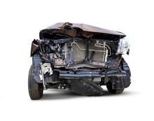 Isolated Car In Front Has Been Damaged By Accident, Cover Light [clipping Path]