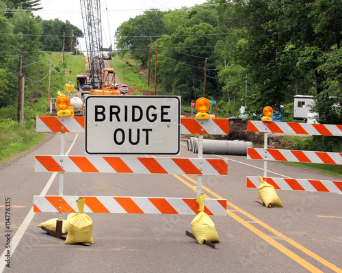 Bridge out sign on a road barricade Wallpaper Mural