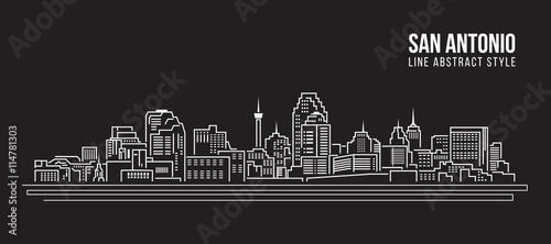 Cityscape Building Line art Vector Illustration design -  San Antonio city Canvas Print