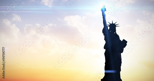 Wallpaper Mural Composite image of focus on liberty statue