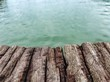 Wood plank texture and water view