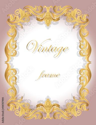 Invitation Card With Golden Ornamental Frame Border For