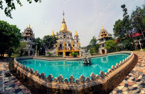 Foto op Aluminium Temple Buu Long pagoda at Ho Chi Minh City, Vietnam, near Suoi Tien Theme Park.