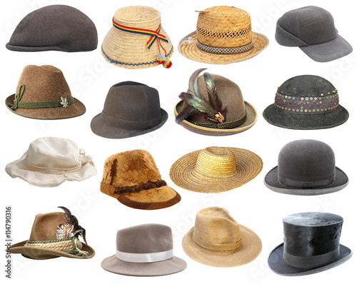 Obraz large collection of hats over white - fototapety do salonu