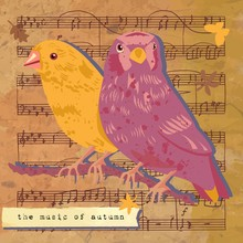 'The Music Of Autumn' Vintage Style Vector Post Card