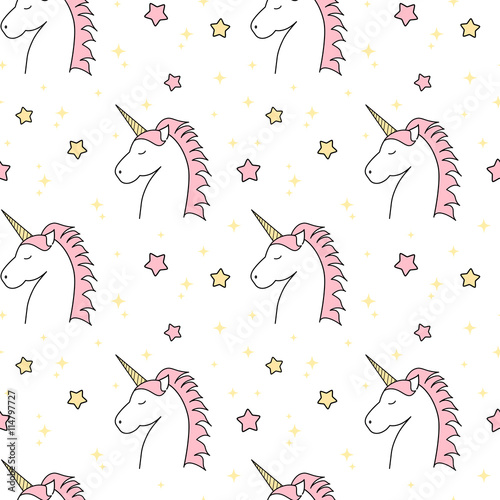 Fototapeta cute cartoon unicorn seamless vector pattern background illustration with stars