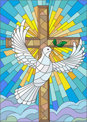 NaklejkaIllustration with a cross and a dove in the stained glass style