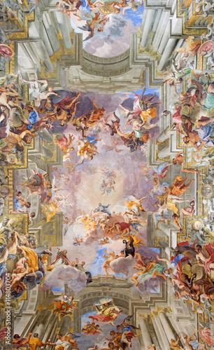 ROME, ITALY - MARCH 10, 2016: The central part of vault baroque fresco The Apotheosis of St Ignatius by jesuit frater Andrea Pozzo (1685) in church Chiesa di Sant'Ignazio di Loyola Canvas Print