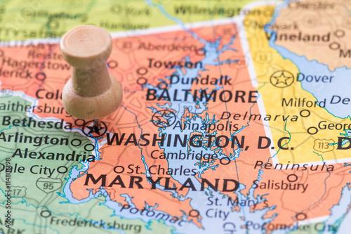 Spoed Foto op Canvas Wereldkaart Washington D.C. on a map