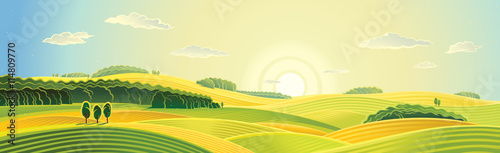 Rural landscape, summer sunrise, panorama view. Wallpaper Mural