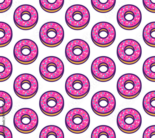 Cotton fabric Vector seamless pattern with cute donuts.