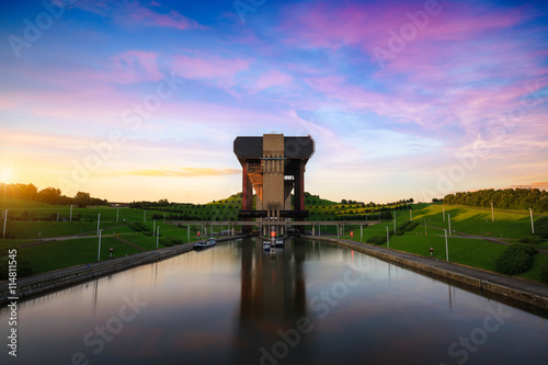 Printed kitchen splashbacks Channel The Strepy-Thieu boat lift on the Canal du Centre in the Province of Hainaut, Belgium.It is the tallest boat lift in the world.