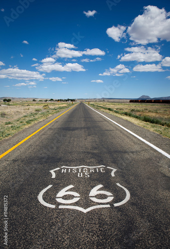 Photo  Historic US Route 66 as it crosses though a rural area in the state of Arizona
