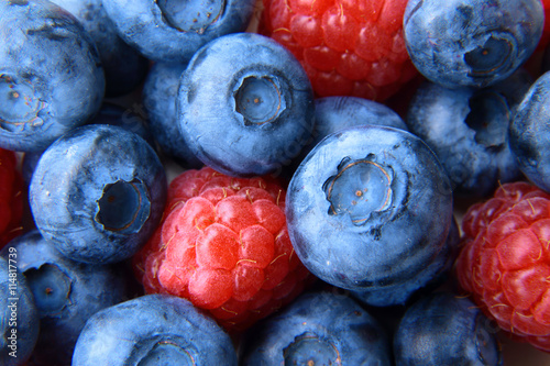 Canvas Prints Fruits closeup of a bunch of raspberries and blueberries