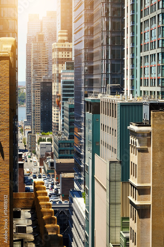 Foto op Plexiglas New York TAXI View of skyscrapers in Manhattan, New York City