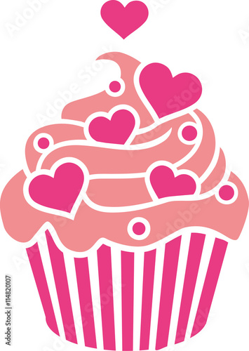 Photo  Cupcake with pink hearts on cream