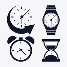 Icon Set Of Silhouette Clocks....