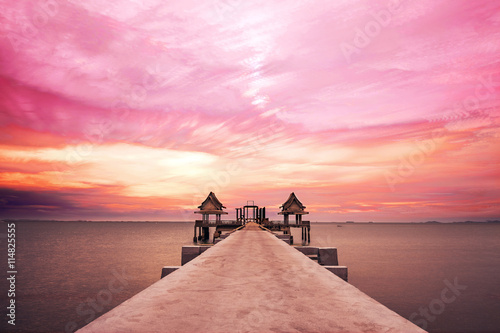 Wall Murals Light pink Long exposure, colorful landscape pier at Jittapawan temple in Thailand