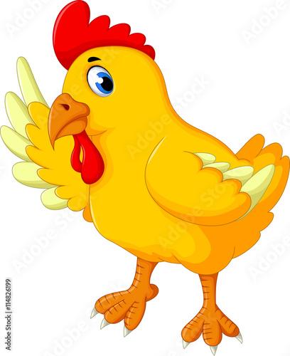 Wall Murals Ranch cute hen cartoon waving