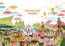Welcome To Chiang Rai Thailand - Freehand Drawing Illustration